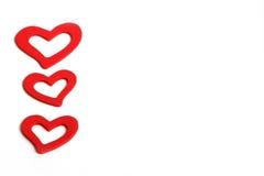 Pięknego rocznika miłości Drewniani Czerwoni serca dla ślubów lub valentines Zdjęcia Royalty Free