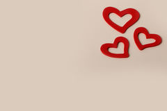 Pięknego rocznika miłości Drewniani Czerwoni serca dla ślubów lub valentines Fotografia Royalty Free