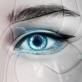 Pięknego rozjarzonego cyborga żeński oko Obraz Royalty Free