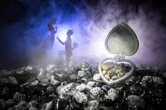 Pięknego rozpieczętowanego starego rocznika srebra sercowata szkatuła z obrączkami ślubnymi z sylwetką zostaje na ma i kolanie mł Obrazy Royalty Free