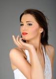 pięknego smokingowego makeup retro biała kobieta Obrazy Stock