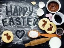 Pięknego tła ciastek Szczęśliwi Wielkanocni wakacyjni karmowi wypiekowi bu Zdjęcie Royalty Free