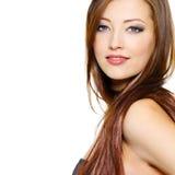 pięknego włosy długa portreta kobieta obrazy stock
