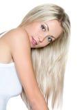 pięknego włosy długa prosta kobieta Zdjęcia Stock