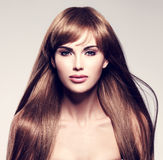 pięknego włosy długa seksowna kobieta Obrazy Stock