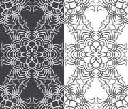 Pięknego wektorowego druku Bezszwowy wzór Mandala kwiaty ustawiający z bielem i popielatym tłem Zdjęcia Royalty Free