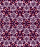 Pięknego wektorowego druku Bezszwowy wzór Mandala kwiaty ustawiający z purpurowym tłem Obraz Royalty Free