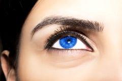 Pięknego wnikliwego spojrzenia kobiety błękitny ` s ono przygląda się Obraz Royalty Free