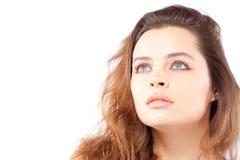 pięknego zbliżenia twarzowa portreta kobieta Fotografia Royalty Free