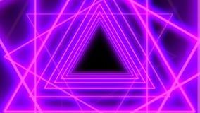 Pięknej Abstrakcjonistycznej Neonowej trójboka tła animacji Bezszwowa pętla 4K ilustracja wektor