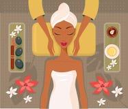 Pięknej Afrykańskiej kobiety zdroju salonu twarzy ciała masażu relaksujący pojęcie ilustracji