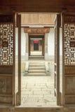 Pięknej architektury drewniani domy, Vuong Domowy pałac zdjęcia royalty free