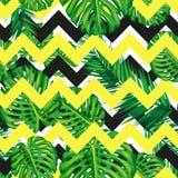 Pięknej bezszwowej tropikalnej dżungli kwiecisty deseniowy tło z palmowymi liśćmi Abstrakt pasiasta geometryczna tekstura Obrazy Stock