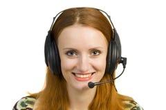 pięknej biznesowej słuchawki uśmiechnięta kobieta Fotografia Stock
