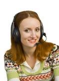pięknej biznesowej słuchawki uśmiechnięta kobieta Obrazy Stock