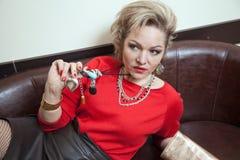pięknej blondynki target2165_0_ kobieta Obraz Stock