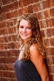 Pięknej Blondynki Włosiana Brown Oka Dziewczyna zdjęcia royalty free