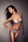 pięknej brunetki bielizny seksowny target1324_0_ Zdjęcia Stock