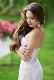 Pięknej brunetki panny młodej Ślubny portret, kobieta z długi falistym Zdjęcia Stock