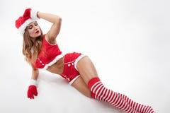 pięknej Claus odzieżowej dziewczyny Santa seksowny target1055_0_ obraz royalty free