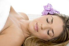 pięknej damy sypialny ręcznik zdjęcia royalty free