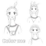 Pięknej dziewczyny czarny i biały ilustracja Zdjęcia Stock