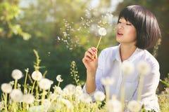 Pięknej dziewczyny podmuchowy dandelion obrazy stock