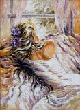 pięknej dziewczyny siedzący okno ilustracji