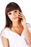 pięknej dziewczyny uroczy telefonu potomstwa zdjęcie royalty free