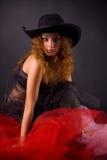 pięknej dziewczyny z włosami kapeluszowa czerwień Obraz Stock