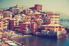 pięknej genuy Italy stary nadmierny miejsca morze Morze zatoka w mieście Zdjęcia Royalty Free