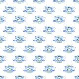 Pięknej graficznej uroczej artystycznej czułej cudownej błękitnej porcelany herbacianych filiżanek akwareli ręki porcelanowa dese Zdjęcia Royalty Free