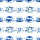Pięknej graficznej uroczej artystycznej czułej cudownej błękitnej porcelany herbacianych filiżanek akwareli ręki porcelanowa dese Obrazy Royalty Free