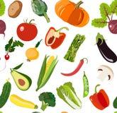 Pięknej jaskrawej grafiki zieleni jarski zdrowy wzór organicznie warzywa: szalotka, karczoch, Chińska kapusta, asparagus ilustracja wektor