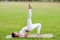 Pięknej kobiety ćwiczy joga w parku Obrazy Stock
