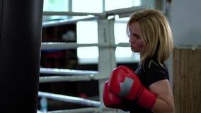 Pięknej kobiety boksu stażowi ciosy z punchbag w gym zbiory wideo