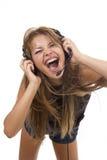Pięknej Kobiety Słuchająca Muzyka Obrazy Stock
