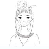 Pięknej młodej kobiety czarny i biały ilustracja Fotografia Royalty Free