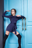 Pięknej mody sukni stylu kobiety odzieżowy makeup Obraz Royalty Free