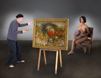 Pięknej Nagiego modela kobiety artysty Śmieszny malarz Zdjęcia Stock