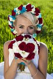 Pięknej panny młodej niebieskich oczu zieleni blond pole Zdjęcie Stock