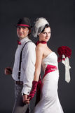 pięknej pary retro stylowy ślub Obrazy Stock