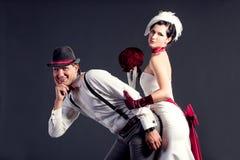 pięknej pary retro stylowy ślub Zdjęcie Royalty Free
