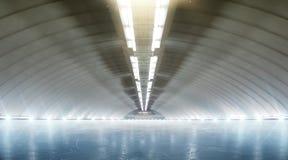 Pięknej pustej zimy lodowy lodowisko z światłami sport obrazy royalty free