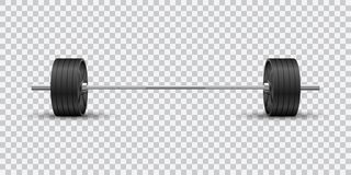 Pięknej realistycznej sprawności fizycznej wektorowy frontowy widok olimpijski barbell z czerni żelaza talerzami na przejrzystym  royalty ilustracja