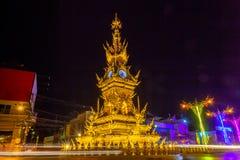 pięknej rzeźby zegarowy wierza w centrali Chiang Raja miasto Zdjęcia Stock