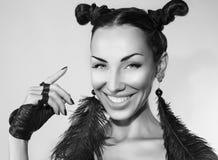 Pięknej Seksownej Emocjonalnej kobiety uśmiechnięta twarz Zdjęcie Stock