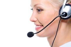 pięknej twarzy żeński szczęśliwy operatora profil fotografia royalty free