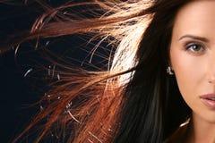 pięknej zamkniętej twarzy przyrodni portret w górę kobiety Fotografia Royalty Free
