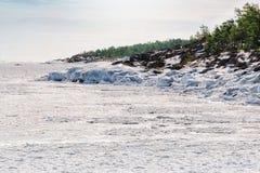Pięknej zimy lodowe formacje Fotografia Royalty Free